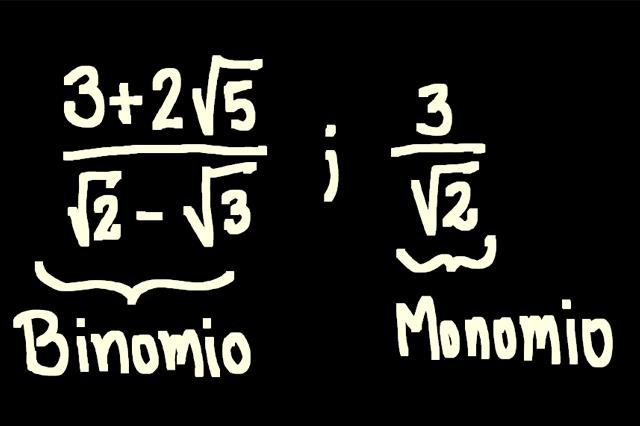 racionalizar denominadores tipo binomio